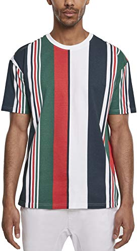 Urban Classics Herren Heavy Oversized Big AOP Stripe Tee T-Shirt, Mehrfarbig (wht/NVY 00392), Large (Herstellergröße:L)