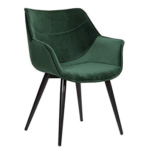 WOLTU Esszimmerstühle BH146gn-1 1x Küchenstuhl Wohnzimmerstuhl Polsterstuhl mit Armlehen Design Stuhl Samt Metall...
