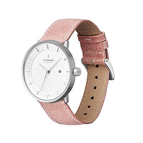 Nordgreen Philosopher skandinavische Uhr in Silber mit weißem Ziffernblatt und austauschbarem 36mm Leder Armband Pink 10068