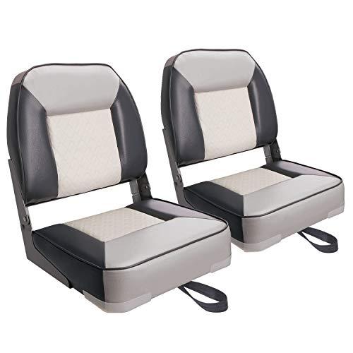 XGEAR Deluxe Low Back Boat Seat FoldDown Fishing Boat Seat 2 Seats CWhite/Charcoal