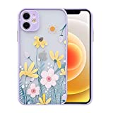 Ownest Compatible with iPhone 12 Case [Not fit iPhone 12 Pro 6.1''] for Clear Frosted PC Back 3D Floral Girls Woman and Soft TPU Bumper Silicone Slim Shockproof Case for iPhone 12 6.1''-Taro Purple