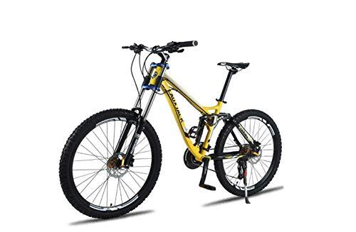 Bicicleta de Montaña Bicicleta de Montaña Unisex, Marco de Aleación de Aluminio de 26 Pulgadas, 24/27 Velocidades, Doble Suspensión, Bicicleta Mtb con Doble Disco de Freno,Amarillo,24 velocidades