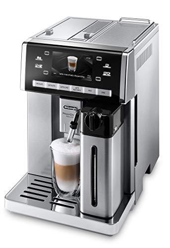 De\'Longhi PrimaDonna ESAM 6900.M Kaffeevollautomat mit Milchsystem, Cappuccino und Espresso auf Knopfdruck, 4,6 Zoll TFT Farbdisplay, Trinkschokoladenfunktion, Edelstahlgehäuse, silber