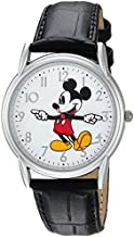 DISNEY Men's Mickey Mouse Analog-Quartz Watch with Leather-Synthetic Strap, Black, 18 (Model: WDS000403)