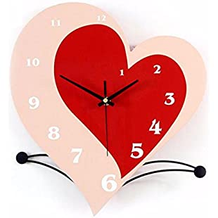 WERLM Personalized design home decorative wall clock art clock heart-shaped cd United Creative Cartoon wall clock modern pastoral quiet bedroom living room wall clock is a family restaurant kitchens office schools are ideal for any room:Deepld