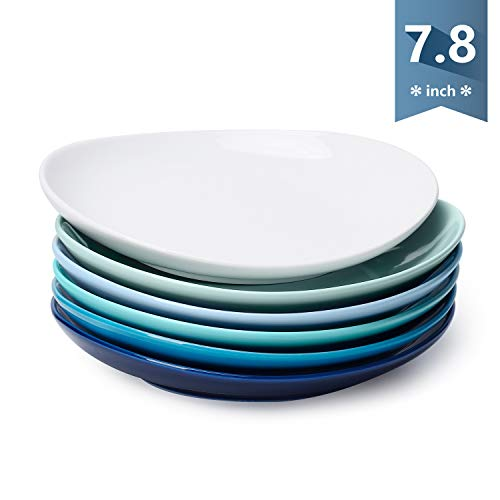 Sweese 151.003 Porcelain Dessert Salad Plates - 7.8 Inch - Set of 6, Cool Assorted Colors