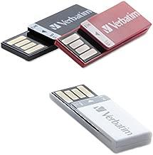 Verbatim 8GB Clip-It USB Flash Drive - 3pk - Black, White, Red