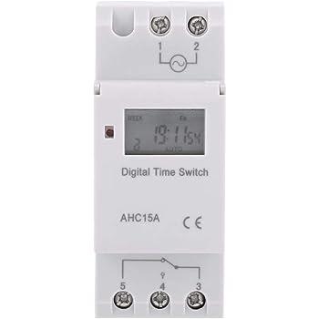 24V LCD Minuterie Programmateur horaire /électrique hebdomadaire Num/érique Timer Interrupteur 15A