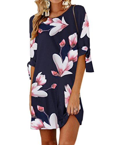 Ajpguot Sommerkleid Damen T-Shirt Kleid Rundhals Kurzarm Minikleid Blumen Strandkleider Langes Shirt...