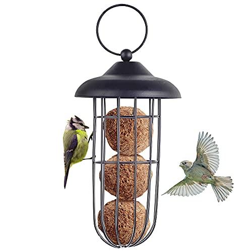 Vogelhäuschen, Eichhörnchen-Beweis Metall Vogelhäuschen Vogelhäuschen Eisen Automatische Hängende Fettkugelhalter Fütterungswerkzeug