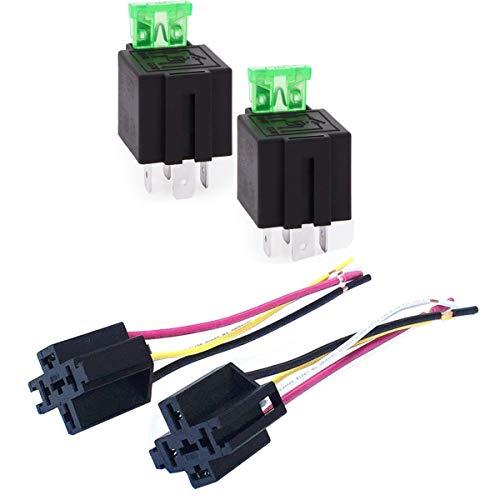 Relé de Fusible de Encendido/Apagado de 12 V, 30A automóvil 4-Pin Fusible Montaje zócalo con Cables de 14 AWG para Servicio Pesado, Paquete de 2