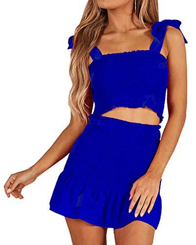 Damen Bohemian Cami Crop Top mit Hohe Taille Bodycon Rock Zweiteiliges Outfit Kleid Anzug Set - mehrfarbig - Klein