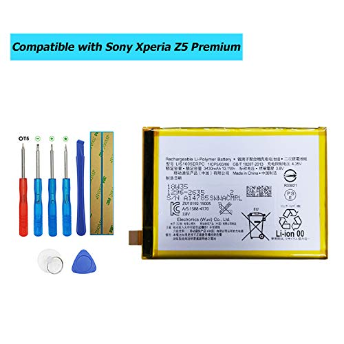 Upplus LIS1605ERPC - Batería de Repuesto Compatible con Sony Xperia Z5 Premium E6853 Z5 Premium Dual E6883 con Kit de Herramientas