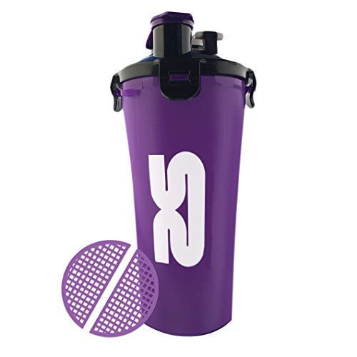 Protein Shaker Purple Bottle | 800ml/28oz Dual Chamber Cup | Purple | Enjoy Two Drinks Stored Separately in The Same Cup | Includes Mixing Grid | Ideal Workout Accessory