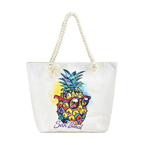Large Canvas Beach Travel Tote Shoulder Bag with Cotton Rope Handle, Pineapple-4