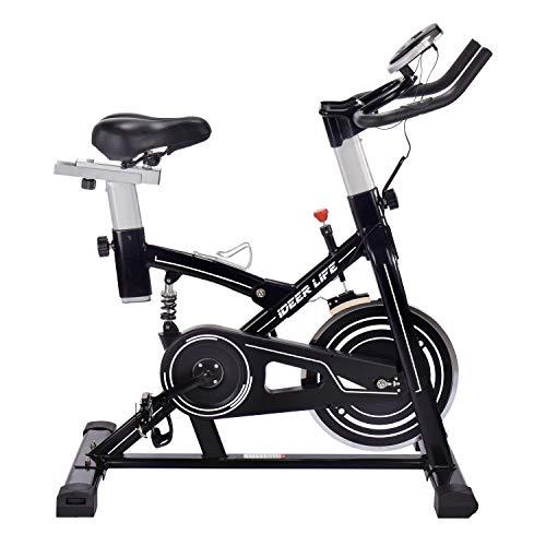 フィットネスバイク エクササイズバイク スピンバイク 心拍数測定 負荷調節 高機能デジタルメーター付き iD...