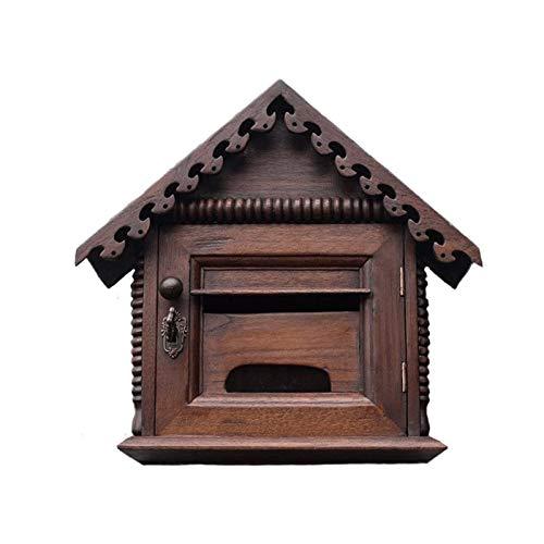 Bdesign Caja de Letras de Monte en Wallbox Buzón a Prueba de Agua Chino Retro Teca China para Villas, Patios, Casas Lockable Caja