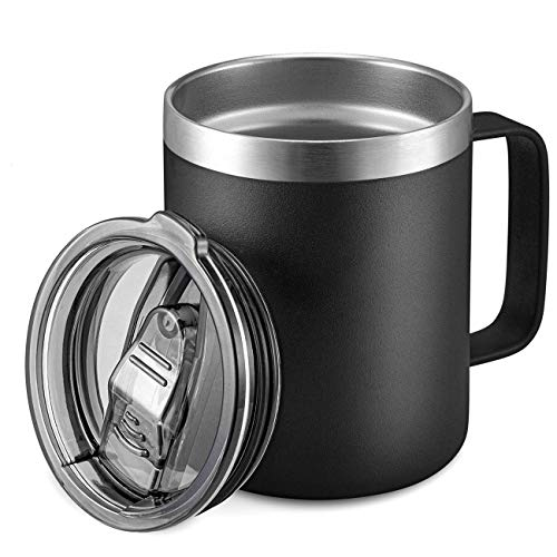 12oz Stainless Steel Insulated Coffee Mug with Handle, Double Wall Vacuum Travel Mug, Tumbler Cup with Sliding Lid, Black