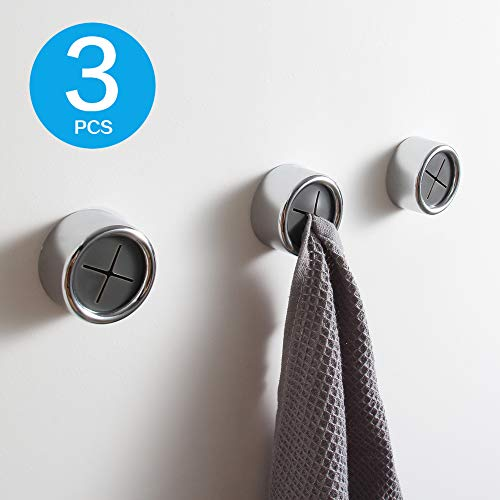KAIYING Kitchen Towel Hooks Round Self Adhesive Dish Towel Holder Wall Mount Hand Towel Hook Tea Towel Rack Hanger for Cabinet Door, Chrome Plated(3 Pack)