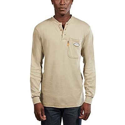 Men's Khaki Flame Resistant FR Henley Shirt