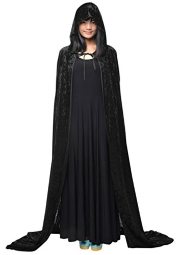 Cabo de Halloween Poncho capucha el vestido bruja capilla larga de Cosplay del traje diablo medieval Escudo maquillaje mujer del hombre del traje unisex cabo Príncipe princesa adultos-Negro