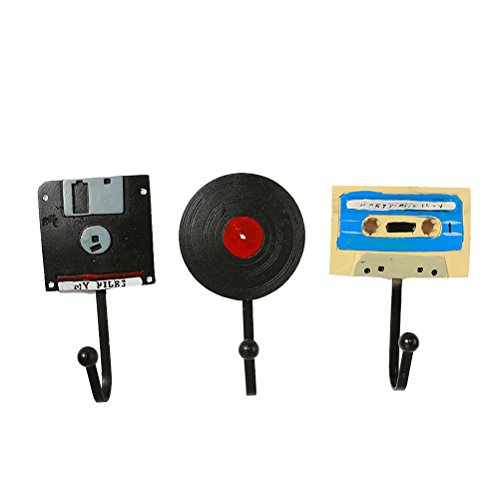 Healifty 3pcs Gancho de Pared Perchero Decorativo Pared Vintage Retro Disco CD Grabar Cinta