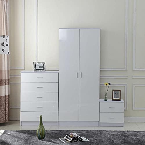 HOMCOM High Gloss 3 Piece Trio Bedroom Furniture Set Wardrobe + Chest Of Drawer + Bedside White