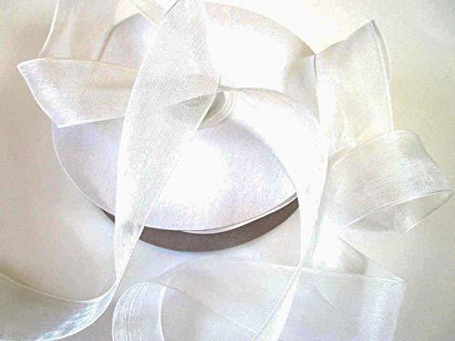 CaPiSo SCHLEIFENBAND Organza 50m x 25mm Organzaband Geschenkband DEKOBAND Hochzeit Antennenband (Creme)