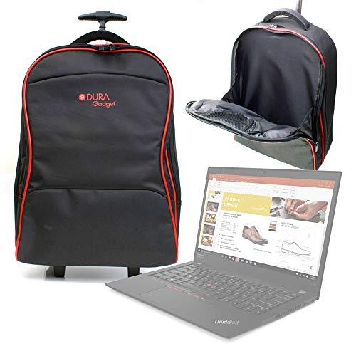DURAGADGET Maleta de Ruedas para Viajar Compatible con Portátil Lenovo THINKPAD T15, Medidas de Equipaje de Mano.