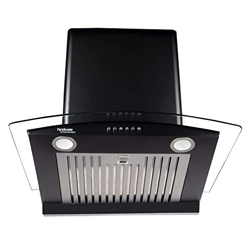 Hindware 60cm 1100 m3/hr Auto-Clean Chimney (Elena Black 60, Black)