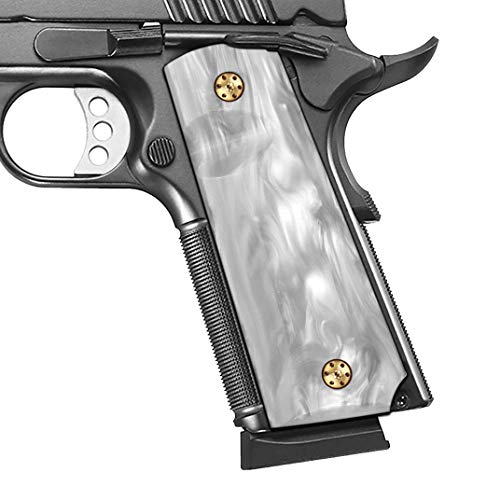 Cool Hand 1911 High Polished Synthetic Pearl Grips, Full Size (Government/Commander), Screws Included, Ambi Safety Cut, H1-S-WP