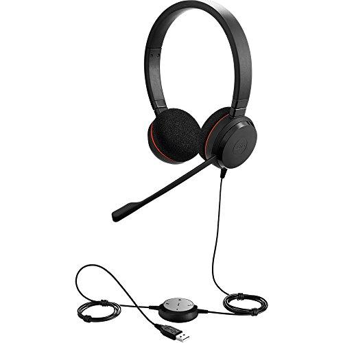 Jabra Evolve 20 UC Stereo Wired Headset / Music Headphones (U.S. Retail Packaging), Black
