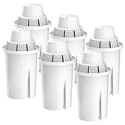 FilterLogic TÜV SÜD Certified Pitcher Water Filter, Replacement for Brita Classic 35557, OB03, Mavea 107007, Compatible with Brita Pitchers Grand, Lake, Capri, Wave and More (Pack of 6)
