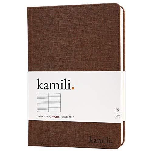 Kamili Vegan Notebook A5 a righe, copertina rigida, 256 pagine di carta spessa premium, segnalibro oro rosa e tasca posteriore A5 Marrone