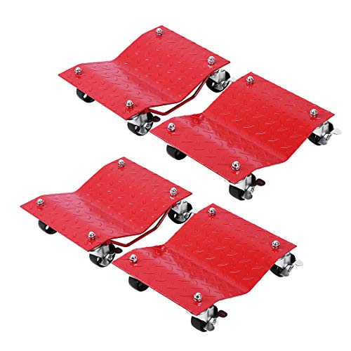 VIVOHOME Heavy Duty 4 Tire Wheel Dolly Car Stakes 6000lbs Capacity Red