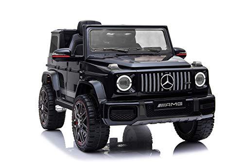 RIRICAR Elektrisches Auto für Kinder, Mercedes G Neu, Schwarz, mit 2,4 GHz Fernbedienung, 1 Sitzer, Batterie 12V - 4AH