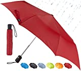 Lewis N. Clark Travel Umbrella: Windproof & Water Repellent with Mildew Resistant Fabric, Automatic Open Close & 1 Year Warranty, Red