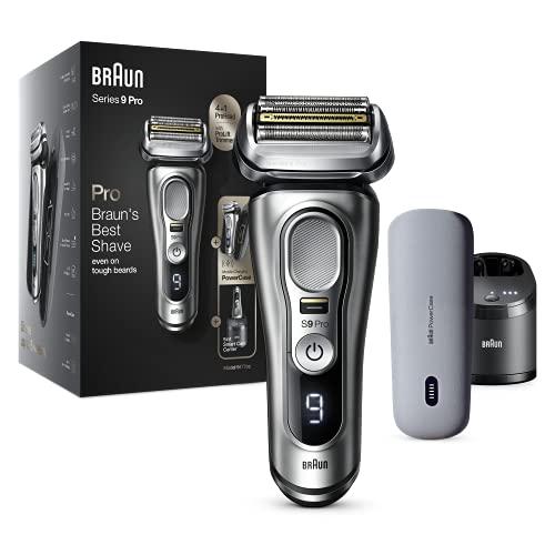 Braun Series 9 Pro 9477cc -  Afeitadora eléctrica para hombre,  cabezal de afeitado 4+1 con ProLift Trimmer,  PowerCase,  estación de limpieza 5 en 1,  60 minutos de autonomía,  húmedo y seco