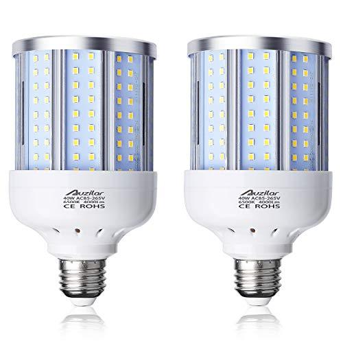 40W LED Corn Light Bulb Corn Lamp (280W Equivalent 6500K) Cool Daylight White Corn LED Bulb E26/E27 Medium Base for Indoor Garage Factory Warehouse Backyard 85V-265V (2Pack) …