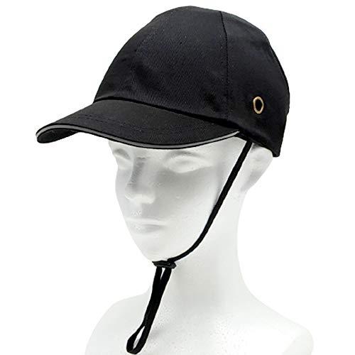 (TUISKU) ヘルメット 内蔵 キャップ 安全帽 安全 帽子 軽量 あご紐付き 選べるカラー (ブラック)