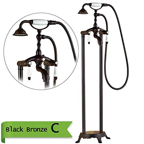 Save %41 Now! Shower System Double Cross Handle Floor mounting Bathtub Mixer with Hand Shower Black ...