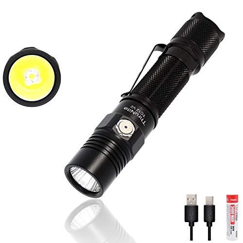 ThruNite TC12 V2 LED Taschenlampe USB Wiederauflabar Super Hell 1100 Lumen Taktische Taschenlampe Doppelschalter Speicherfunktion Wasserdicht IPX8 mit 18650 Akku für Outdoor, Abenteuer, Jagd