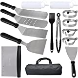Muzzai Griddle Accessories kit,15 Pieces Flat Top Grill Accessories,for Blackstone Grill and Camping Accessories,Stainless Steel Griddle Scraper,Teppanyaki Griddle Tool Set