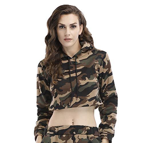 Vrouwen Shirt Met Lange Mouwen En Capuchon/Short Plus Velvet Camouflage Top Koord Met Capuchon Casual Trui,Green,S