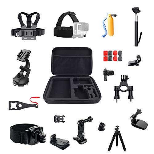 Navitech Action Camera Backpack /& 18-in-1 Accessory Combo Kit with Integrated Chest Strap Compatible with The AKASO V50 X