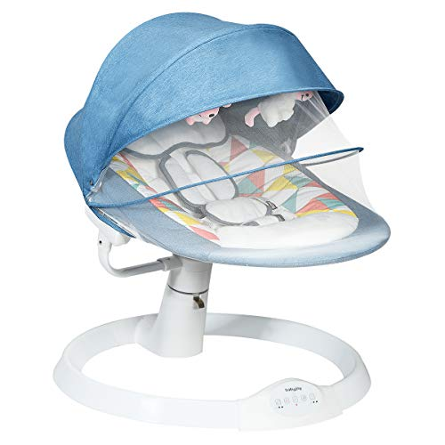 Maxmass Electric Baby Rocking Chair, Bouncer Cradle Chair with Remote Control, 5 Swing Amplitudes, 3-Stage Timer, Music & Toys, Bluetooth Enabled Automatic Swing Rocker for Newborn Infant