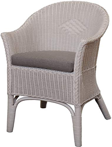 Rattan Armchair Natural in Colour White, Including Grey Seat Cushion Rattan Chair Lounge