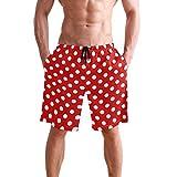 Mens Shorts Rectangular Red White Polka Dot Basketball Short Summer Pants for Boys