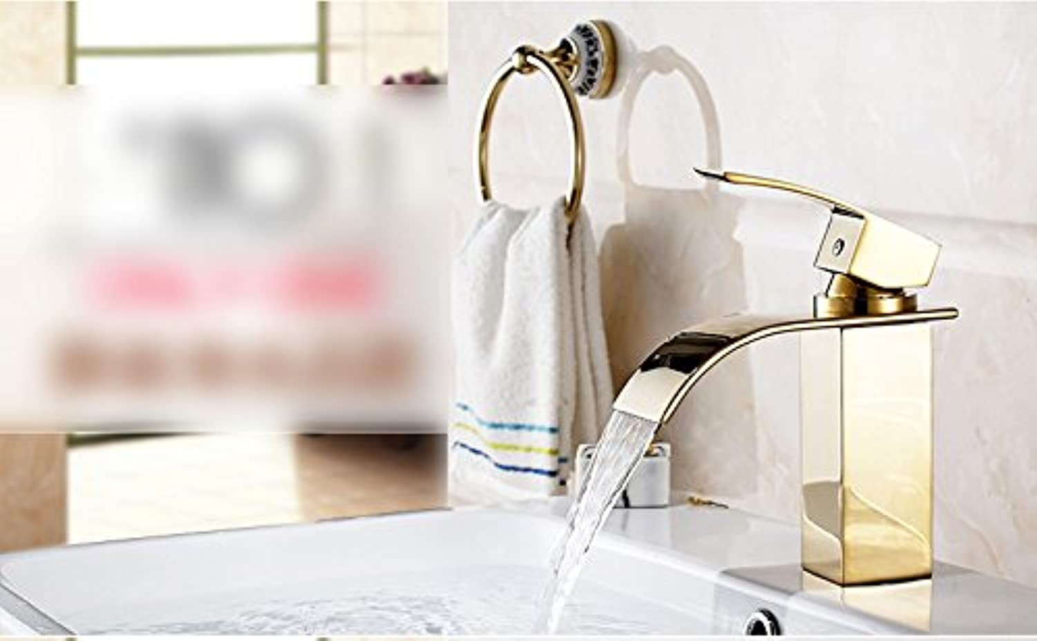 All Copper Faucet Hot And Cold Washbasin Archaize Faucet Heightened Waterfall Faucet Wash Basin ( color    1 , Size   High )