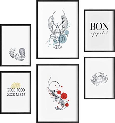 Mia Félice Deko Bilder für das Wohnzimmer modern und angesagt, Premium Poster Set » Seafood « Tumblr Deko Wand Bild, Dekoration Wohnung modern, Deko Schlafzimmer, Zimmer Deko OHNE BILDERRAHMEN
